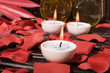Leinwandbild Motiv Essential body massage oils and candles