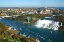 Niagara Falls And Rainbow Bridge