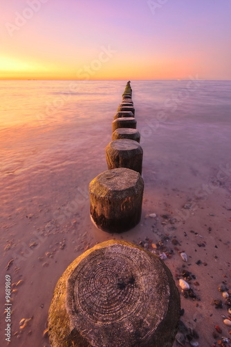 Foto-Leinwand - Sonnenuntergang am Meer
