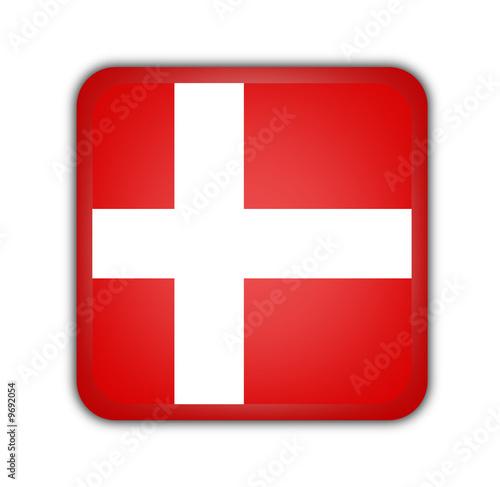 Photo  flag of denmark,square button on white background