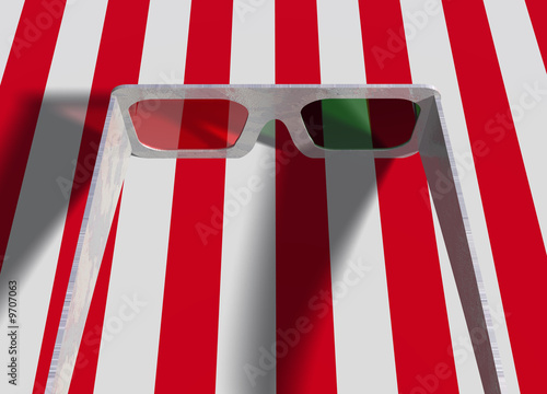 Photo  Pair Set of Plastic of 3d Movie Glasses on Red White Stripes