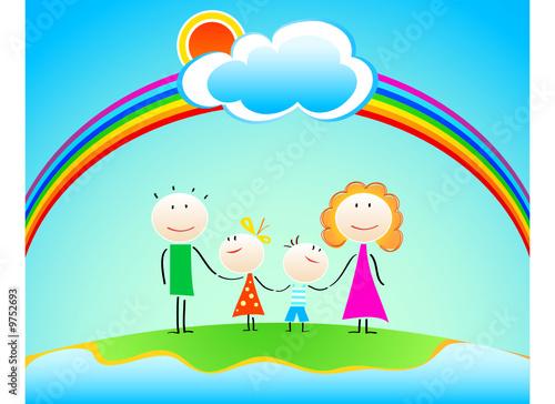 In de dag Regenboog Happy four members family under rainbow