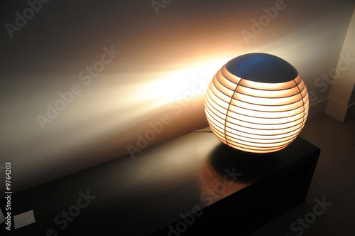 Photo Asian spherical accent light in modern setting