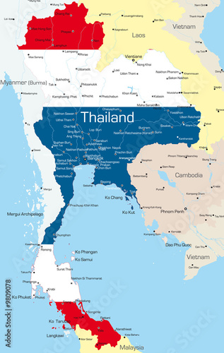 Vector map of Thailand country colored by national flag