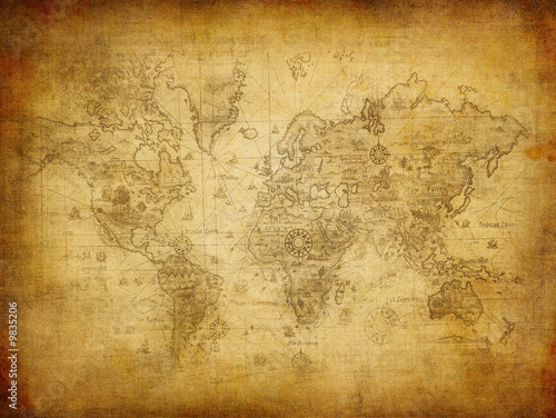 Acrylic Prints World Map ancient map of the world.