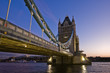 canvas print picture - wide angle shot of The London Tower Bridge at night