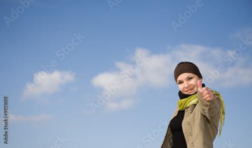 Valokuva  happy attractive brunette woman  outdoor