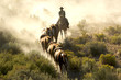 canvas print picture Single cowboy guiding a line of horses through the desert