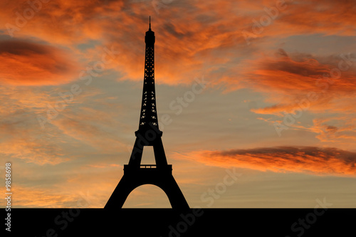 Eiffel tower Paris at sunset with beautiful sky illustration