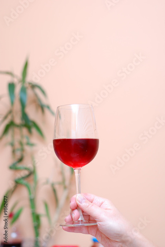 Fototapeta Picture of one hand holding a glass of wine obraz na płótnie