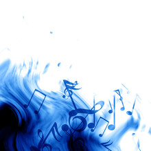 Music Notes On A Soft Blue Background