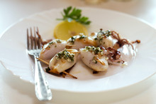 Grilled Squid Stuffed With Ham...