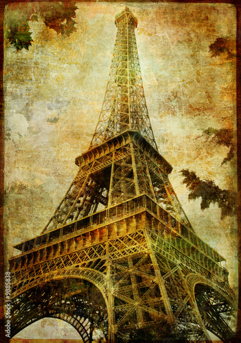 Eiffel tower - vintage card