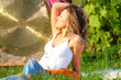 canvas print picture - Photo of  blonde in sunbeams