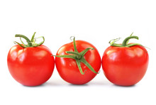 Three Vine Ripened Truss Tomatoes, Isolated On White.