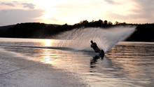 Slalom Skiing At Sunset