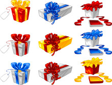 Gift Boxes And Ribbons In Vari...