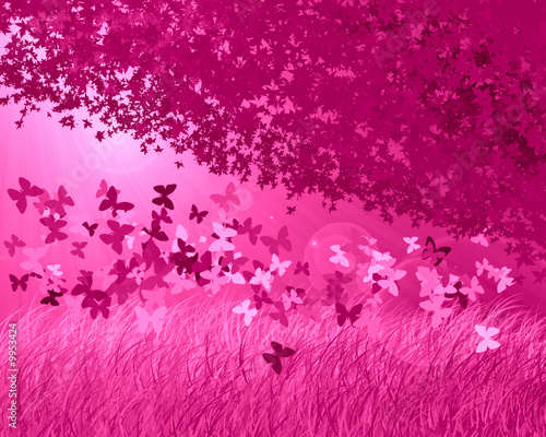 Poster Crimson Abstract forest background with butterfly's
