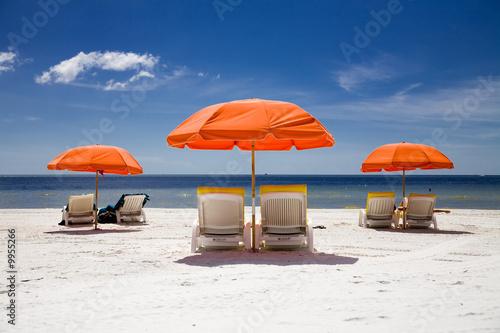 Foto-Schiebegardine Komplettsystem - sunny beach with umbrellas