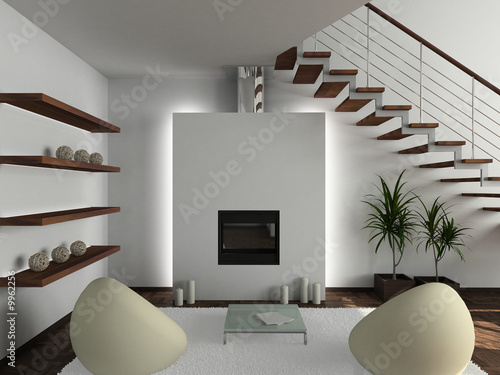 Fotografia  Modern design interior of living-room. 3D render