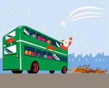 Santa Claus Driving A Double D...