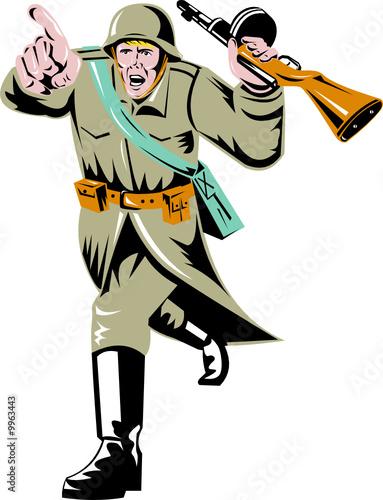 Deurstickers Militair Soviet soldier with burp gun