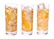 Three glasses of refreshing ice tee with citrus fruits