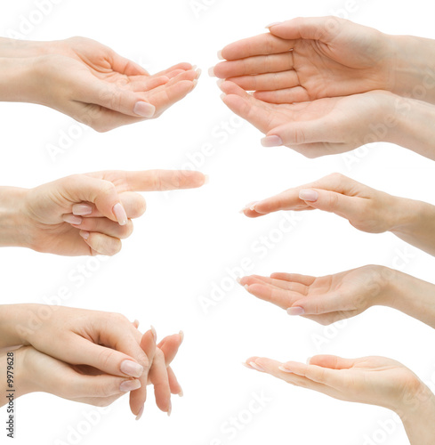 Fototapety, obrazy: Hand gestures set, isolated, with clipping path