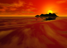 Bright Red Sunset Seascape In Chinese Color Deep And Intense