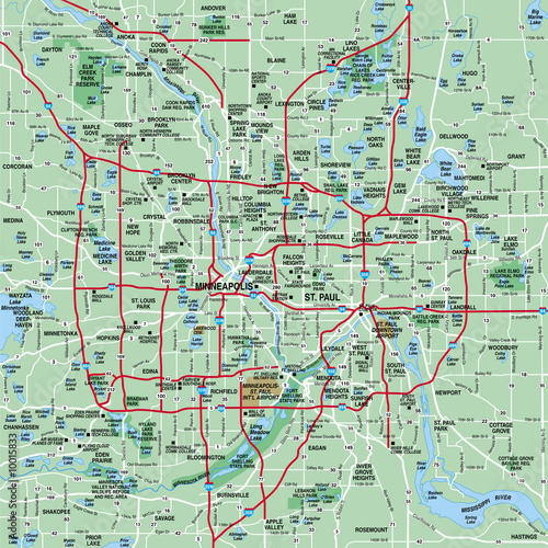 Minneapolis, MN Metropolitan Area Map - Buy this stock ...
