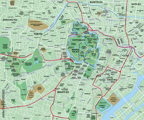 Fotomural Tokyo Downtown City Map