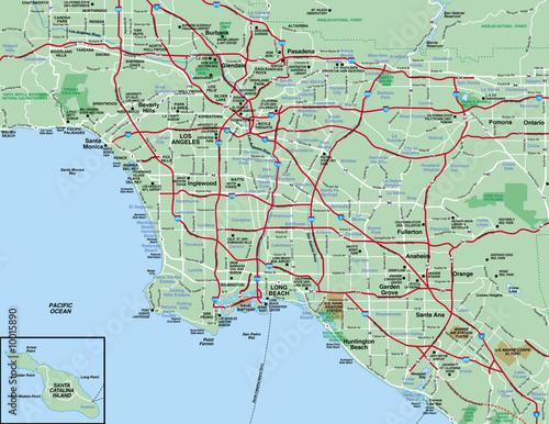 Obraz na plátně Los Angeles, CA  Metropolitan Area map