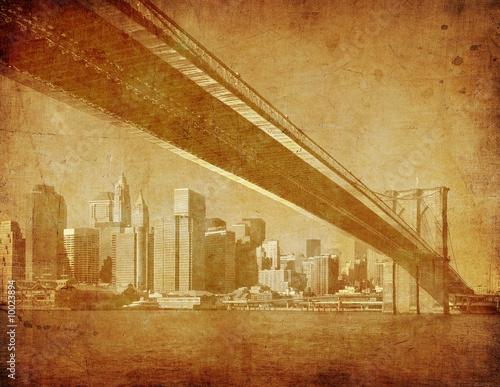 grunge image of brooklyn bridge, new york, usa