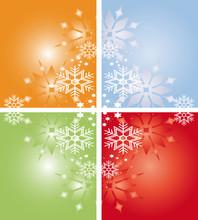 Eiskristalle Und Schneeflocken Farbig