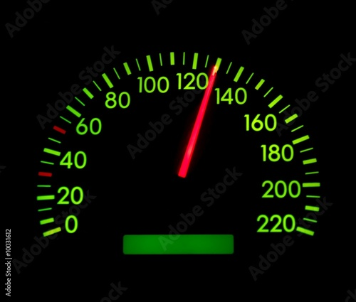 Fotografia  Speedometer showing 130 glowing green
