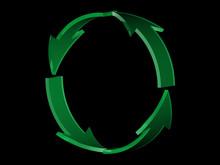 Four Green Arrows Circle