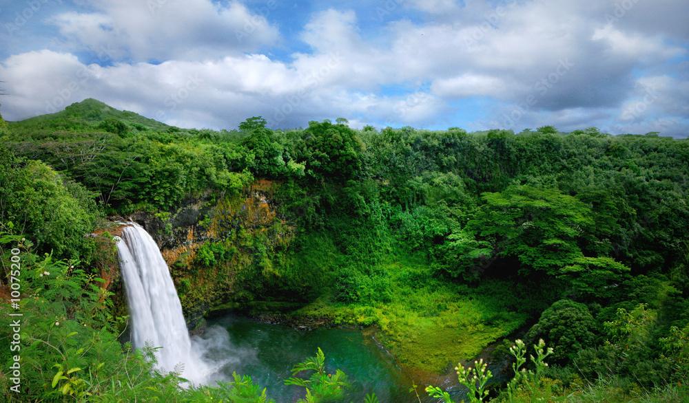 Fototapeta Lush Green Landscape Waterfall on the Hawaiian Islands