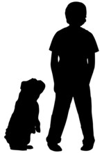 Silhouette Of Boy Standing With Dog Begging At His Side