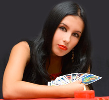Portrait Girl With Cards On Bl...