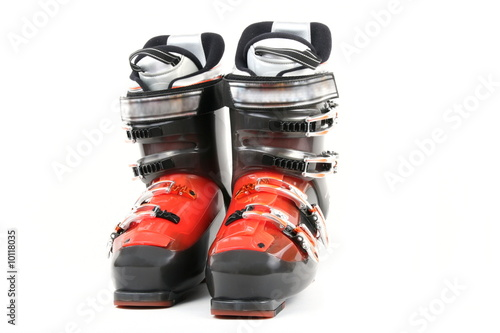 Foto op Aluminium Fietsen Ski boot isolate on white background