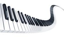 3d Rendering Of Wavy Piano Keys