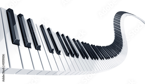 Fotografie, Obraz  3d rendering of wavy piano keys