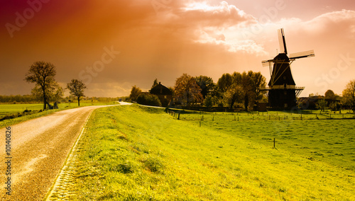 Canvas Prints Honey beautiful sunset windmill landscape in the netherlands