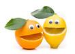 canvas print picture - Lachendes Orange und zitrone mit Blatt