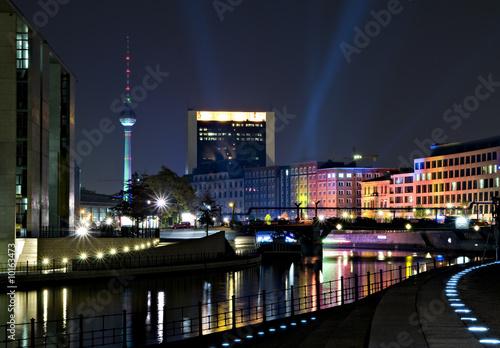 Fotografie, Obraz  berlin, regierungviertel, spree und fernsehturm