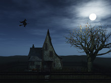 A Spooky Witch House And A Wit...