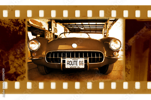 Papiers peints Route 66 old frame photo with retro chevrolet corvette in route 66,USA