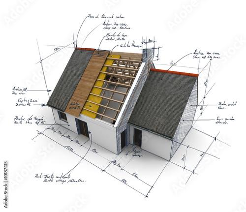 Maison concept A4 croquis Canvas Print