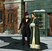 Victorian Couple On City Stree...