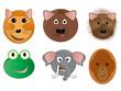 Various Animal Face Cartoon Vector Illustrations